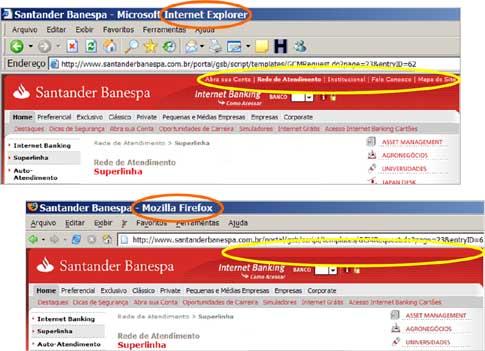 Santander IE6 Firefox
