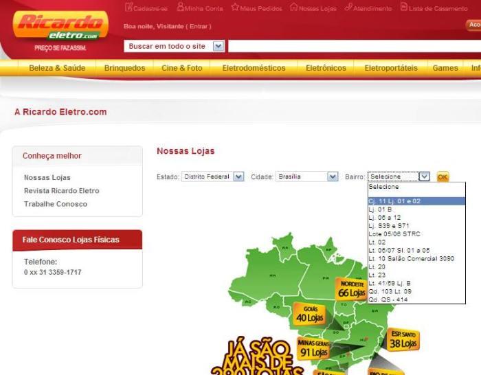 Busca de loja no site Ricardo Eletro